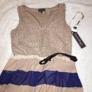 NWT Luxology Tan Chevron Print Maxi Dress Size S
